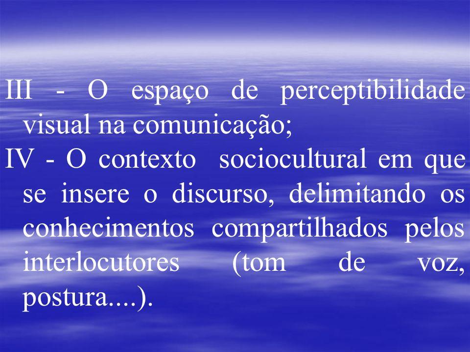 III - O espaço de perceptibilidade visual na comunicação;