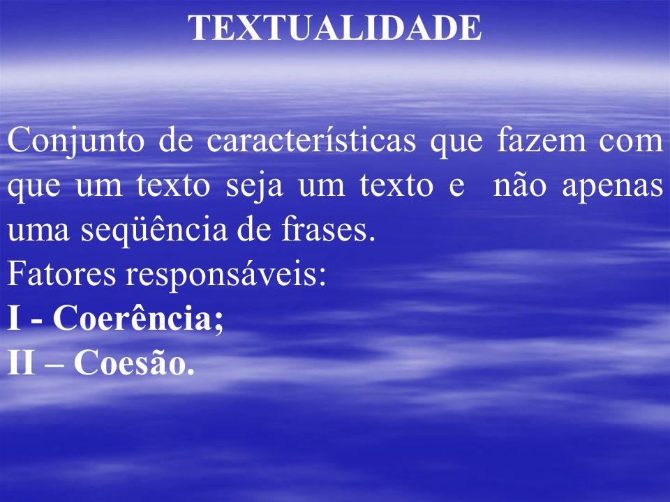 TEXTUALIDADE Conjunto de características que fazem com que um texto seja um texto e não apenas uma seqüência de frases.
