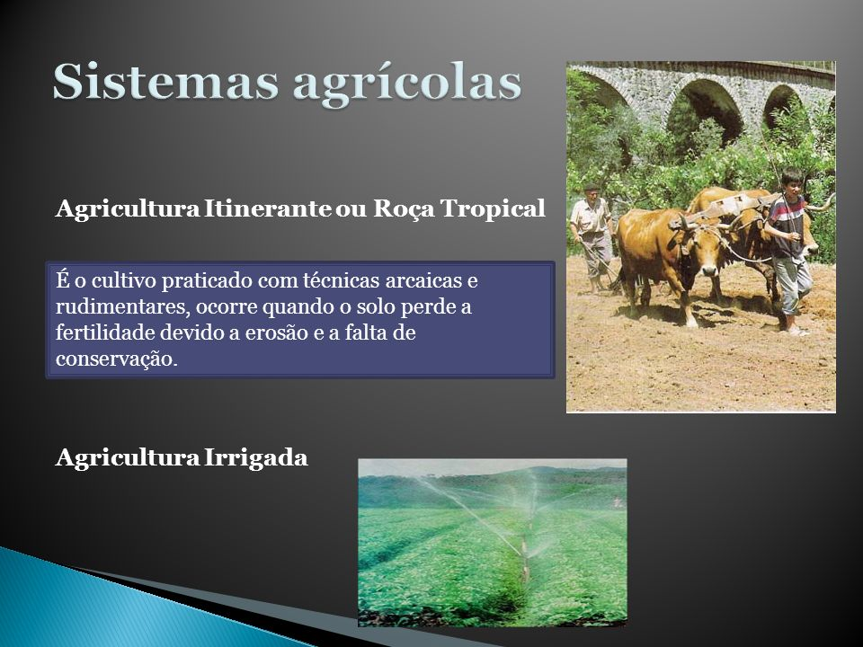 Sistemas agrícolas Agricultura Itinerante ou Roça Tropical
