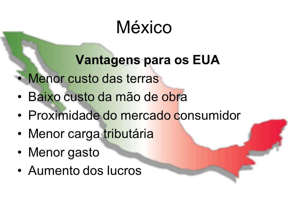 México Vantagens para os EUA Menor custo das terras