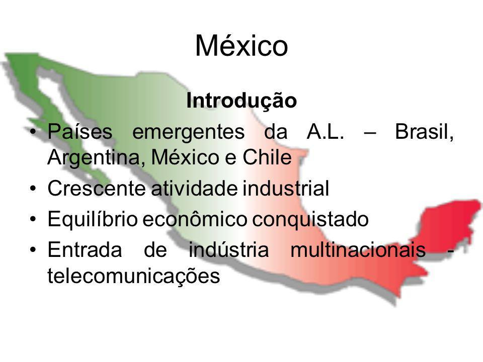 México Introdução. Países emergentes da A.L. – Brasil, Argentina, México e Chile. Crescente atividade industrial.
