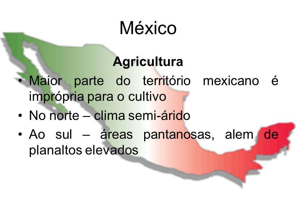 México Agricultura. Maior parte do território mexicano é imprópria para o cultivo. No norte – clima semi-árido.