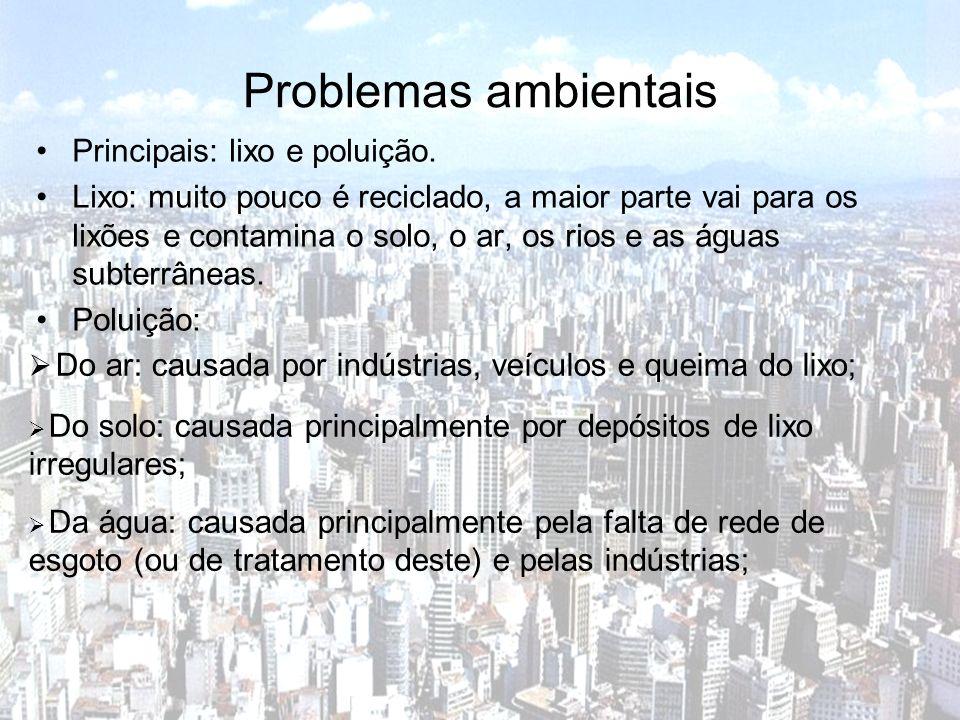 Problemas ambientais Principais: lixo e poluição.