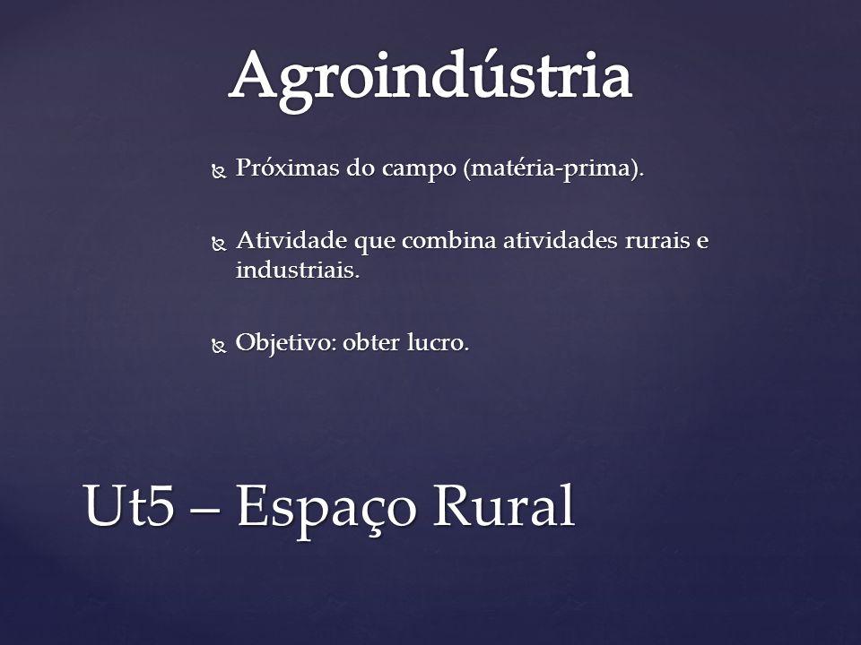 Agroindústria Ut5 – Espaço Rural Próximas do campo (matéria-prima).