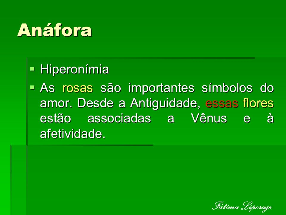 Anáfora Fátima Liporage Hiperonímia
