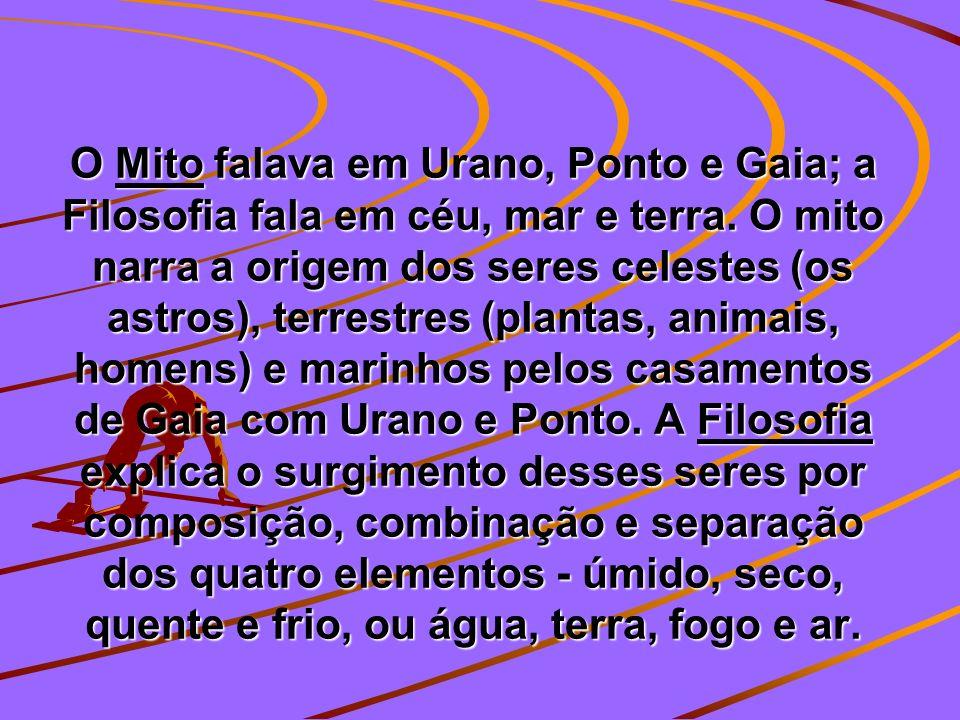 O Mito falava em Urano, Ponto e Gaia; a Filosofia fala em céu, mar e terra.