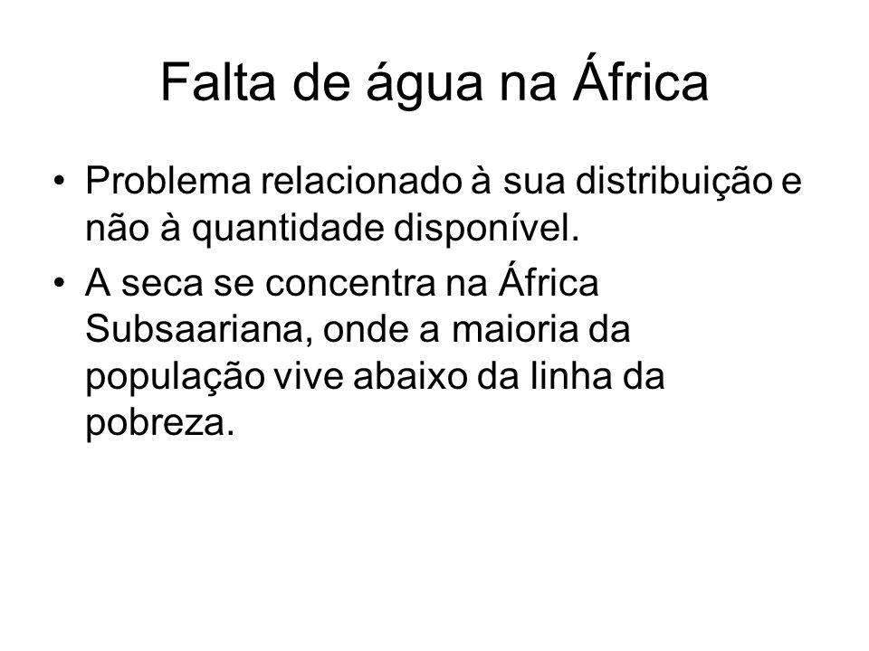 Falta de água na África Problema relacionado à sua distribuição e não à quantidade disponível.