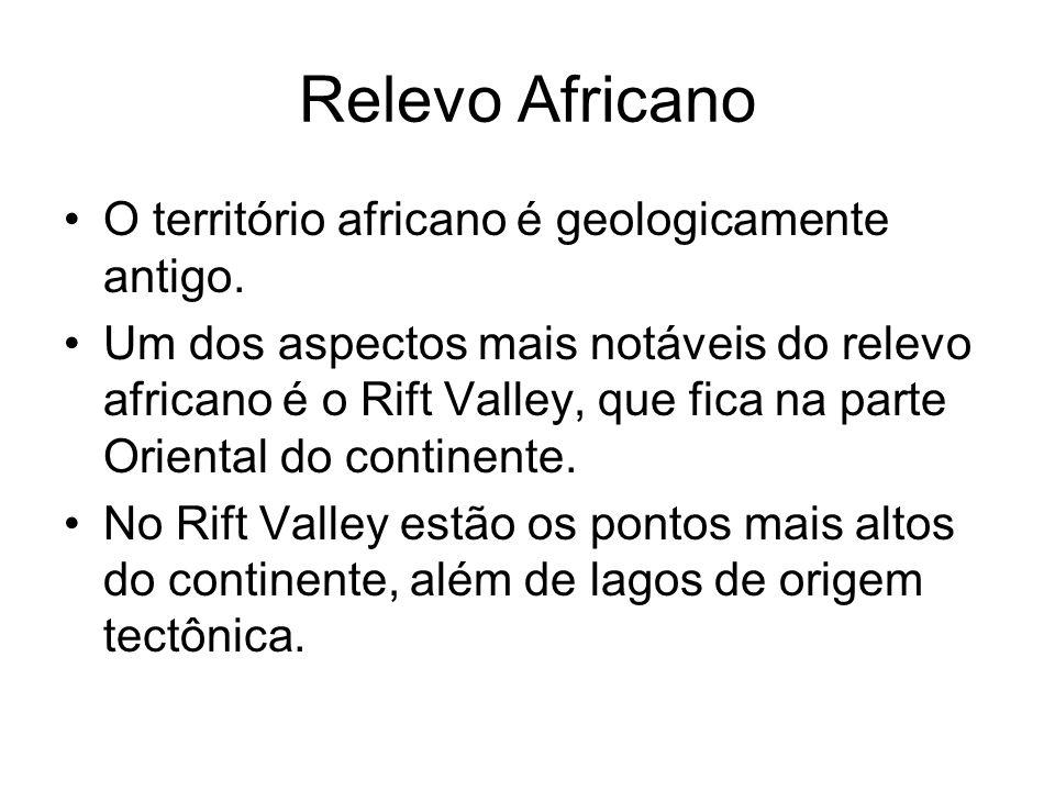 Relevo Africano O território africano é geologicamente antigo.