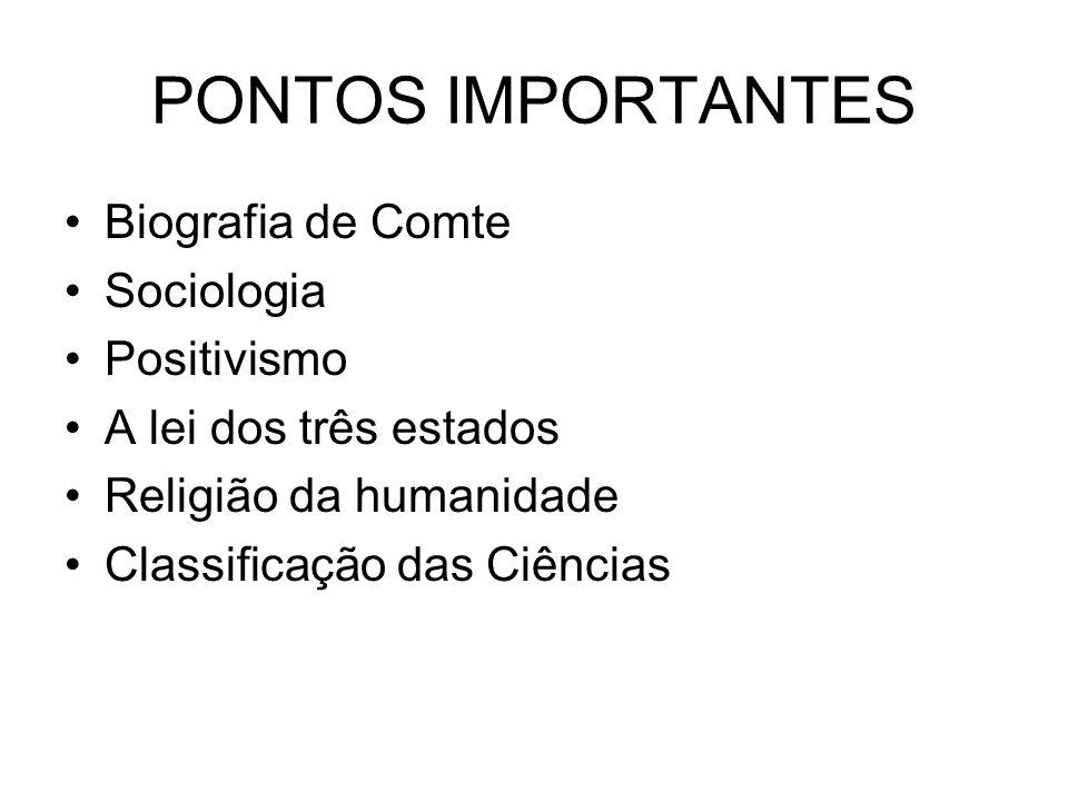 PONTOS IMPORTANTES Biografia de Comte Sociologia Positivismo