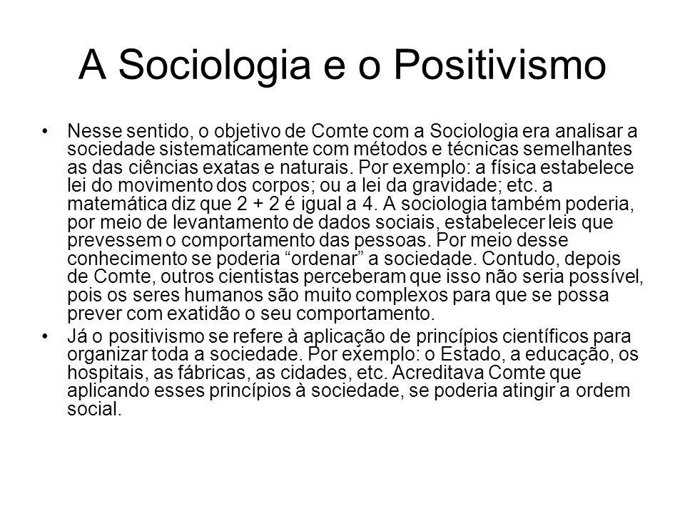 A Sociologia e o Positivismo