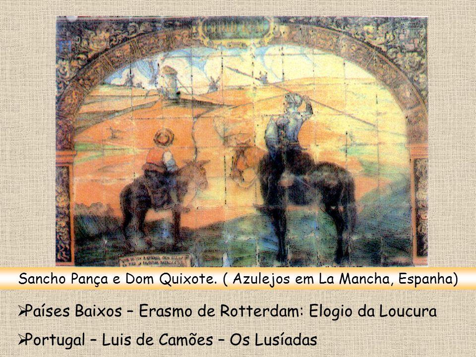 Sancho Pança e Dom Quixote. ( Azulejos em La Mancha, Espanha)