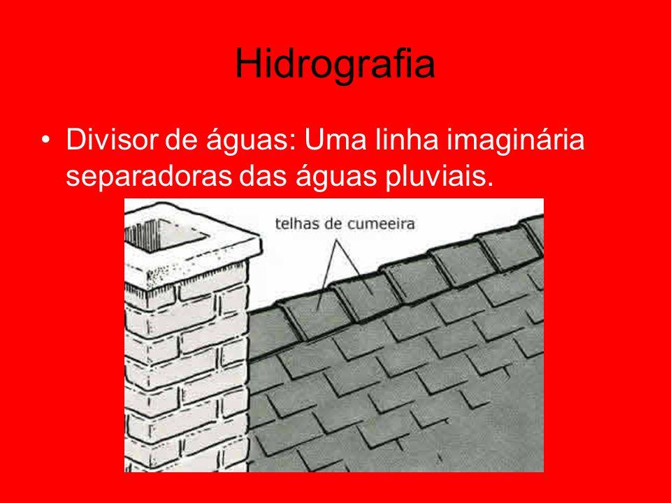 Hidrografia Divisor de águas: Uma linha imaginária separadoras das águas pluviais.