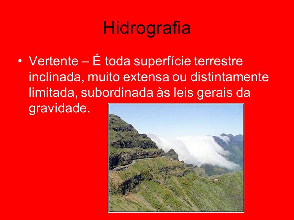 HidrografiaVertente – É toda superfície terrestre inclinada, muito extensa ou distintamente limitada, subordinada às leis gerais da gravidade.