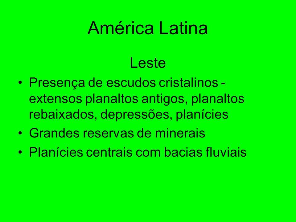 América Latina Leste. Presença de escudos cristalinos - extensos planaltos antigos, planaltos rebaixados, depressões, planícies.
