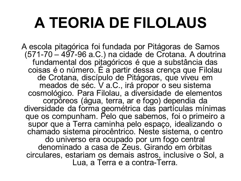 A TEORIA DE FILOLAUS