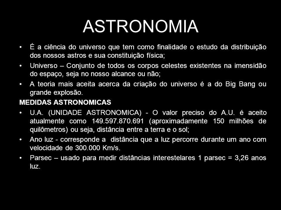 ASTRONOMIA É a ciência do universo que tem como finalidade o estudo da distribuição dos nossos astros e sua constituição física;