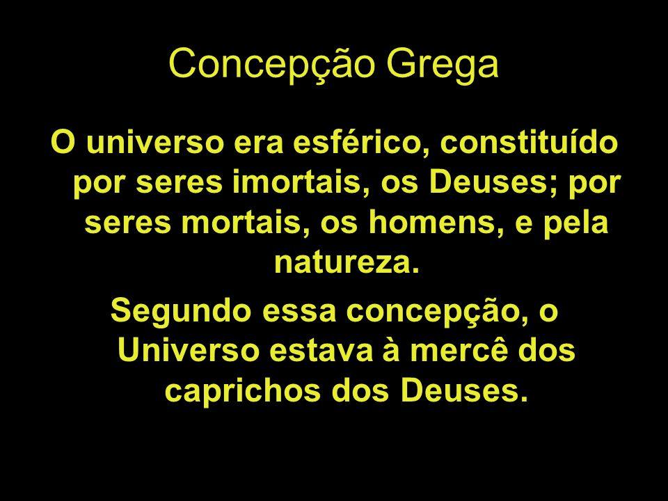 Concepção Grega O universo era esférico, constituído por seres imortais, os Deuses; por seres mortais, os homens, e pela natureza.