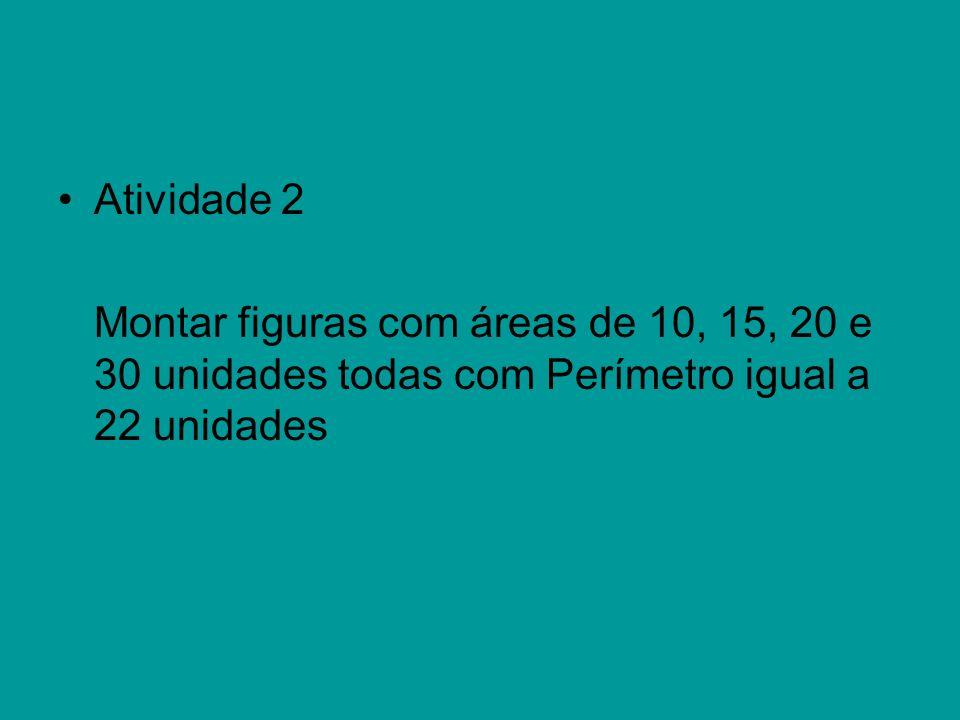 Atividade 2 Montar figuras com áreas de 10, 15, 20 e 30 unidades todas com Perímetro igual a 22 unidades.