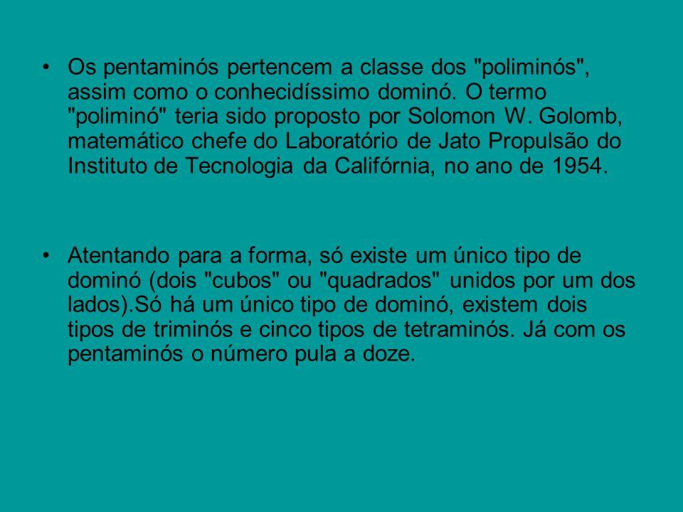 Os pentaminós pertencem a classe dos poliminós , assim como o conhecidíssimo dominó. O termo poliminó teria sido proposto por Solomon W. Golomb, matemático chefe do Laboratório de Jato Propulsão do Instituto de Tecnologia da Califórnia, no ano de 1954.