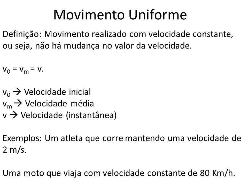 Movimento Uniforme Definição: Movimento realizado com velocidade constante, ou seja, não há mudança no valor da velocidade.