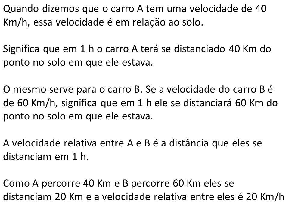 Quando dizemos que o carro A tem uma velocidade de 40 Km/h, essa velocidade é em relação ao solo.
