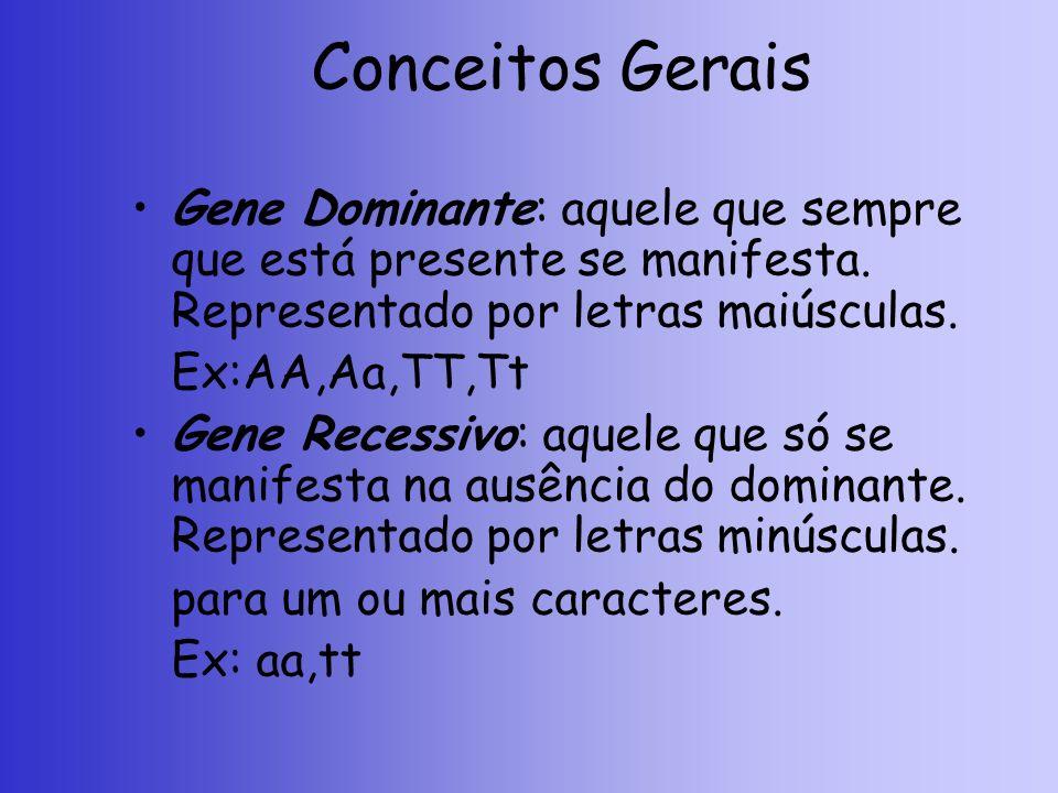 Conceitos Gerais Gene Dominante: aquele que sempre que está presente se manifesta. Representado por letras maiúsculas.