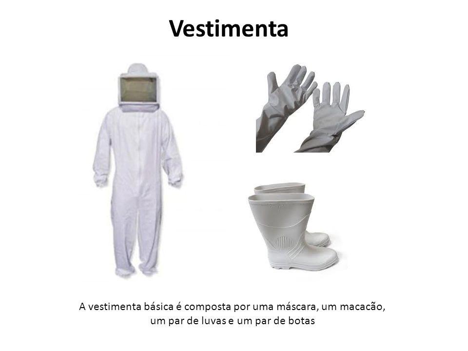 Vestimenta A vestimenta básica é composta por uma máscara, um macacão,