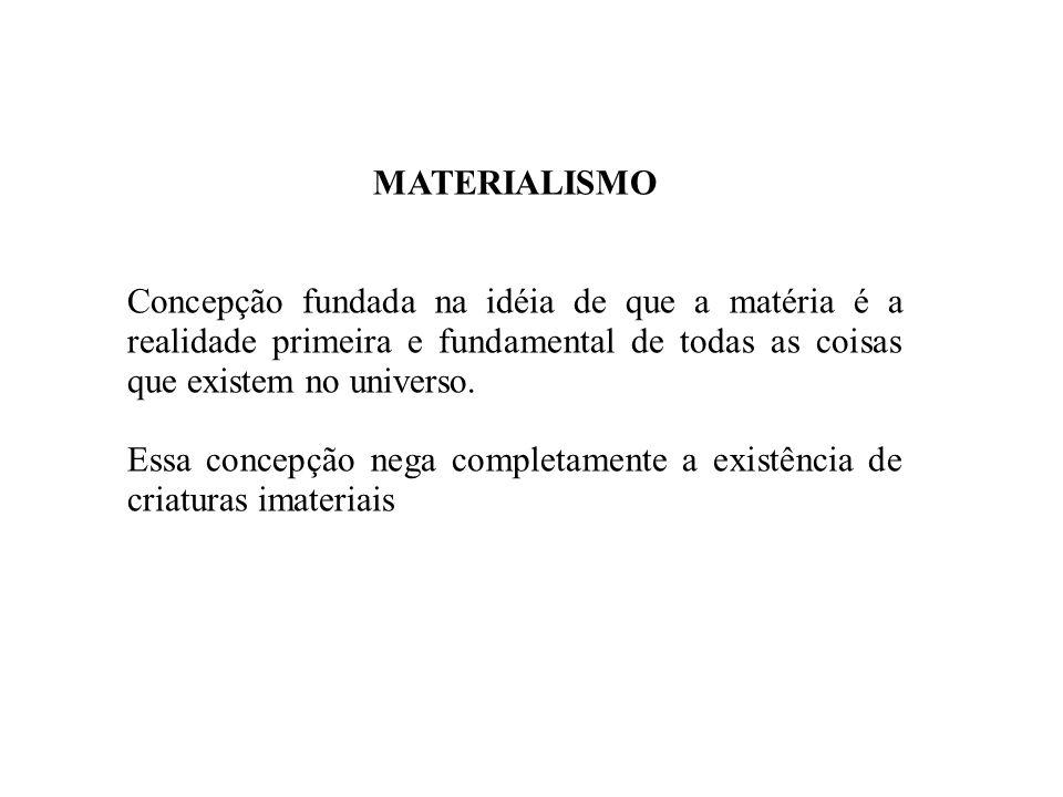 MATERIALISMOConcepção fundada na idéia de que a matéria é a realidade primeira e fundamental de todas as coisas que existem no universo.