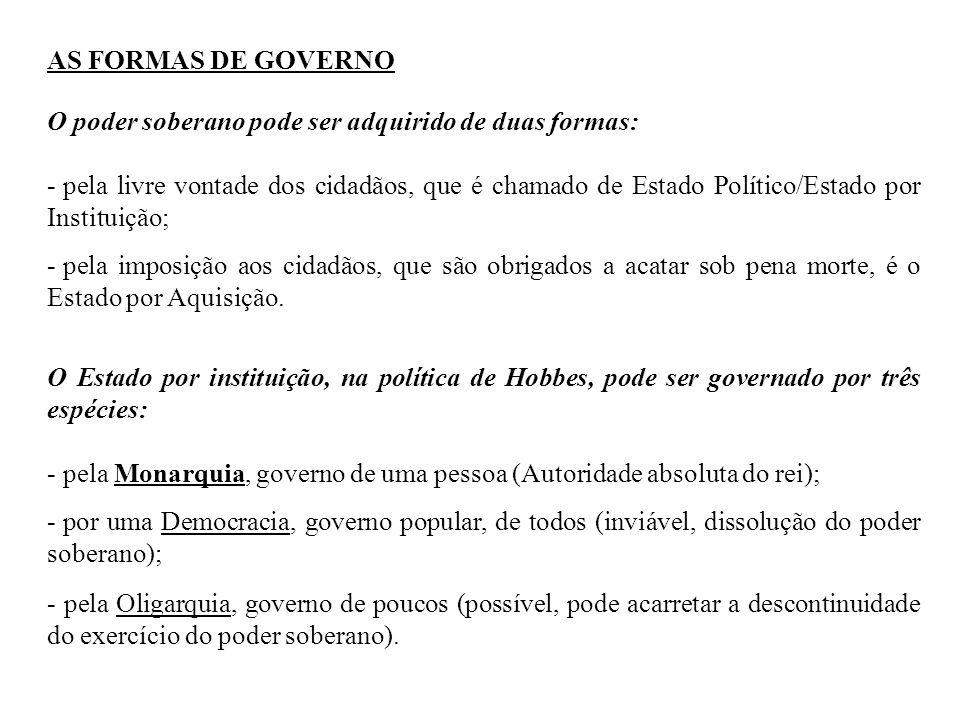 AS FORMAS DE GOVERNOO poder soberano pode ser adquirido de duas formas: