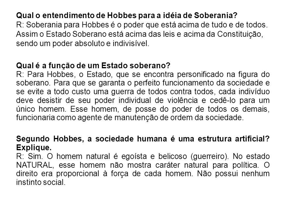 Qual o entendimento de Hobbes para a idéia de Soberania
