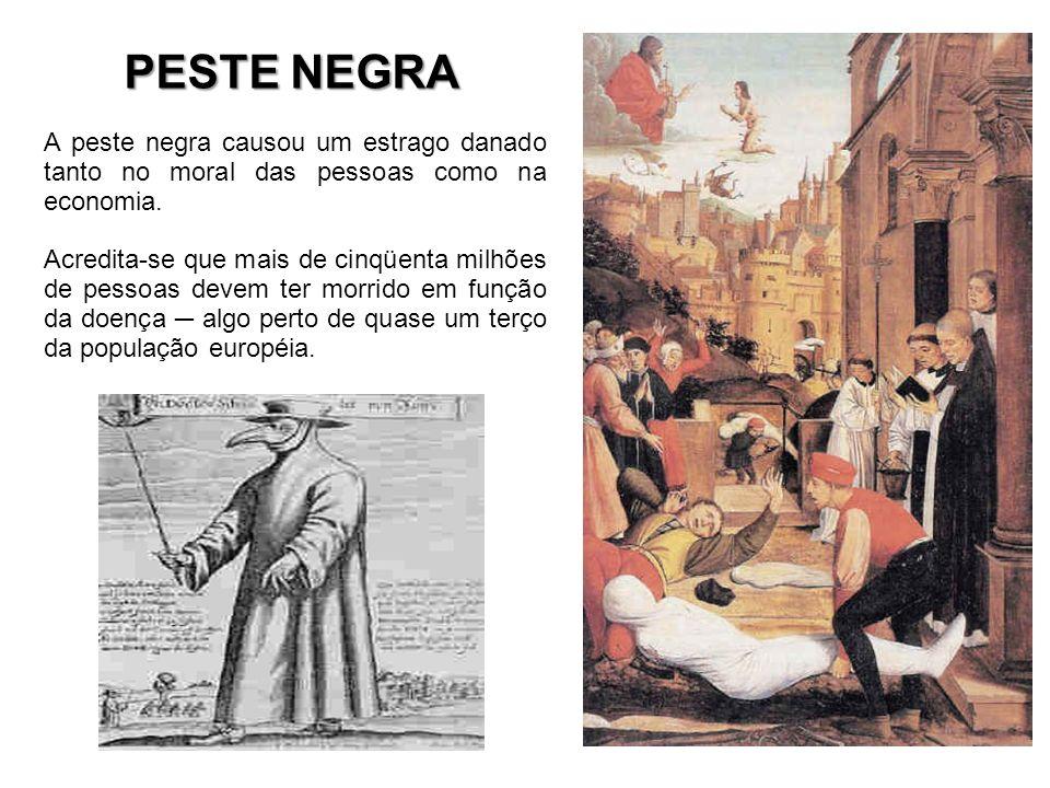 PESTE NEGRA A peste negra causou um estrago danado tanto no moral das pessoas como na economia.