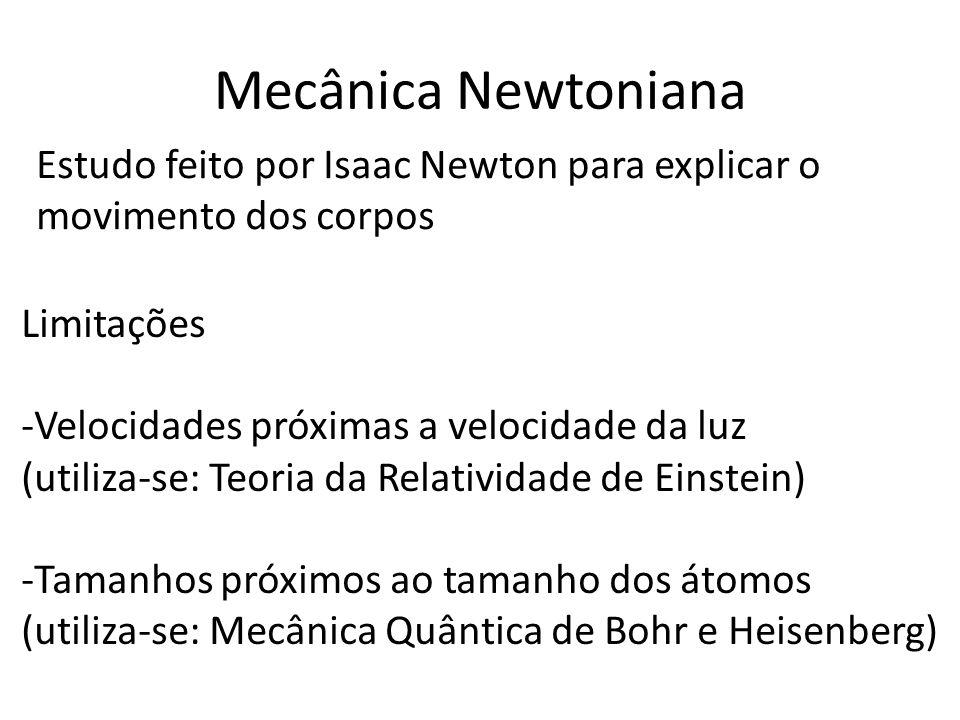 Mecânica Newtoniana Estudo feito por Isaac Newton para explicar o movimento dos corpos. Limitações.