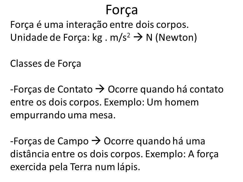 Força Força é uma interação entre dois corpos.