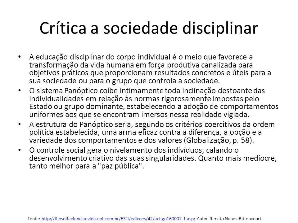 Crítica a sociedade disciplinar