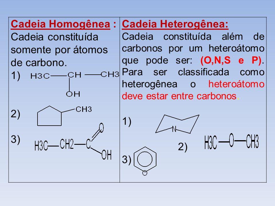 Cadeia Homogênea : Cadeia constituída somente por átomos de carbono.