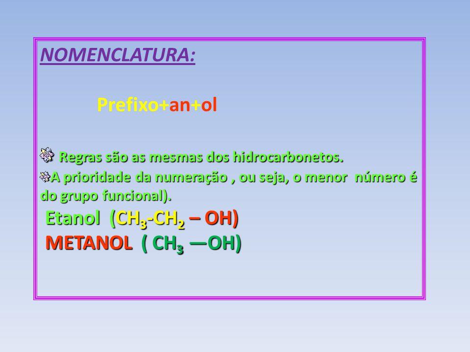 Regras são as mesmas dos hidrocarbonetos.