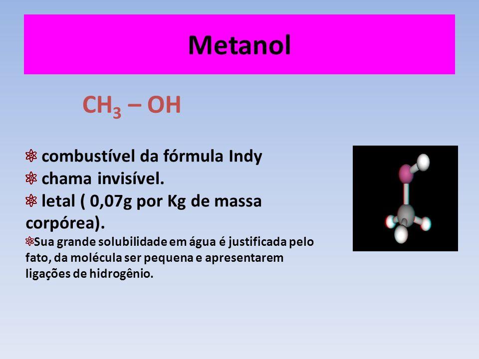 Metanol CH3 – OH combustível da fórmula Indy chama invisível.