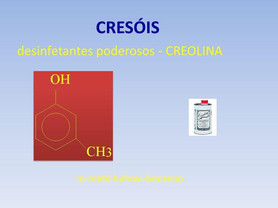 CRESÓIS desinfetantes poderosos - CREOLINA m-metil-hidroxi-benzeno