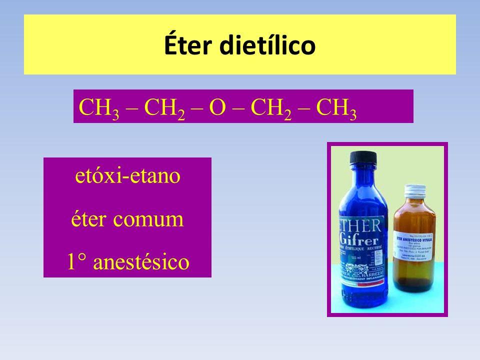Éter dietílico CH3 – CH2 – O – CH2 – CH3 etóxi-etano éter comum
