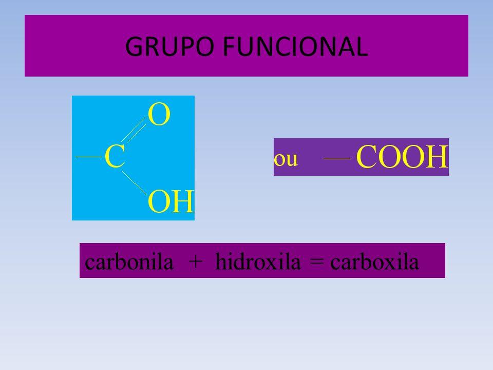 GRUPO FUNCIONAL carbonila + hidroxila = carboxila