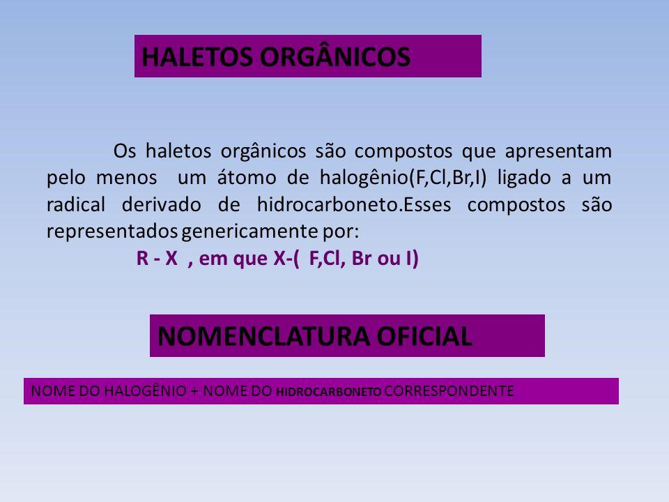 HALETOS ORGÂNICOS NOMENCLATURA OFICIAL