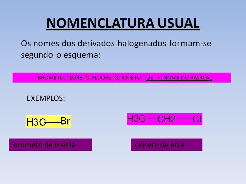 BROMETO, CLORETO, FLUORETO, IODETO DE + NOME DO RADICAL