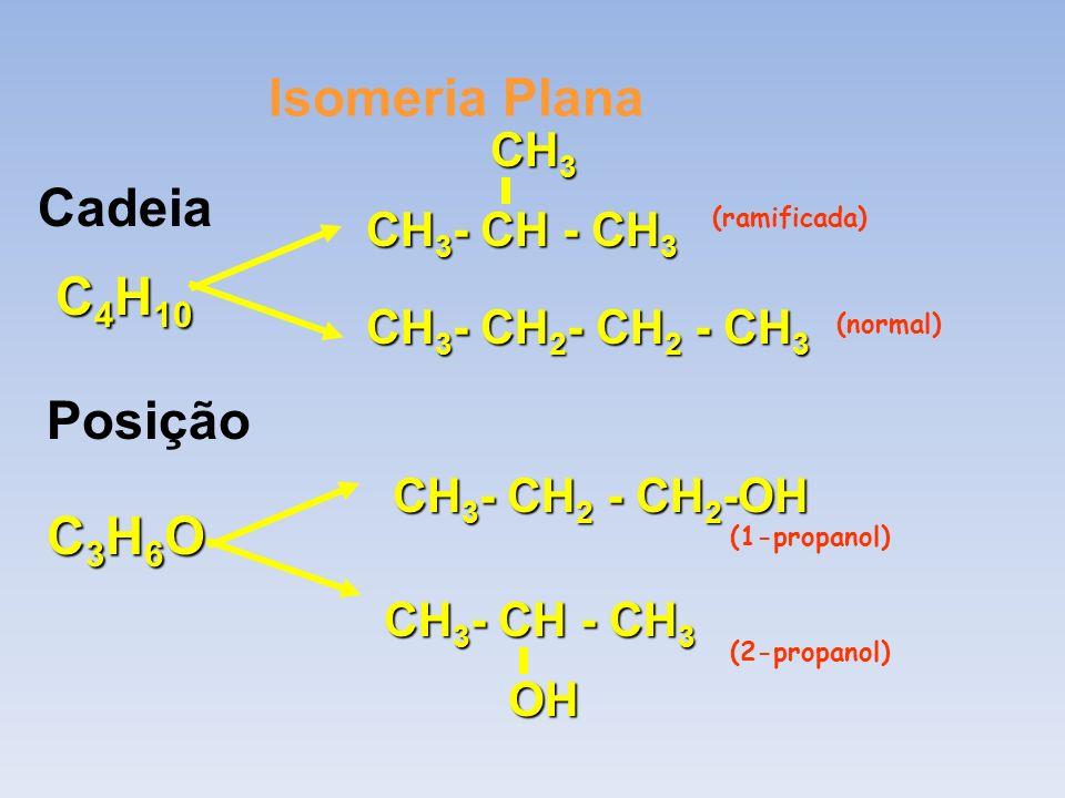 Isomeria Plana Cadeia C4H10 Posição C3H6O CH3 CH3- CH - CH3