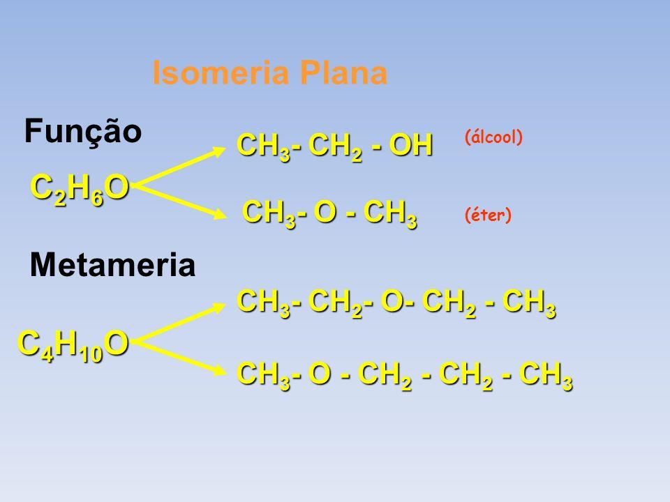 Isomeria Plana Função C2H6O Metameria C4H10O CH3- CH2 - OH