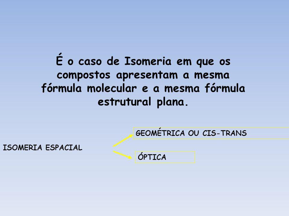 É o caso de Isomeria em que os compostos apresentam a mesma fórmula molecular e a mesma fórmula estrutural plana.