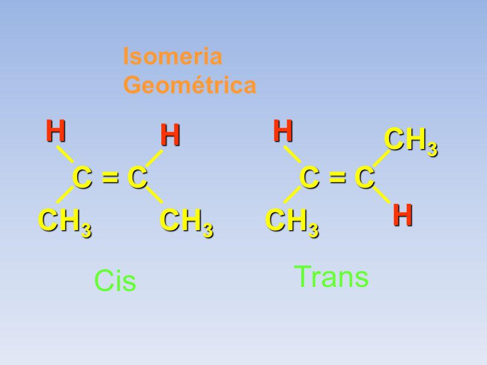 Isomeria Geométrica C = C CH3 H C = C CH3 H Trans Cis