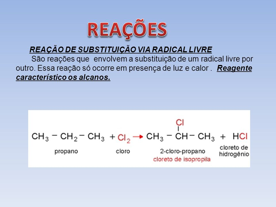 REAÇÕES REAÇÃO DE SUBSTITUIÇÃO VIA RADICAL LIVRE