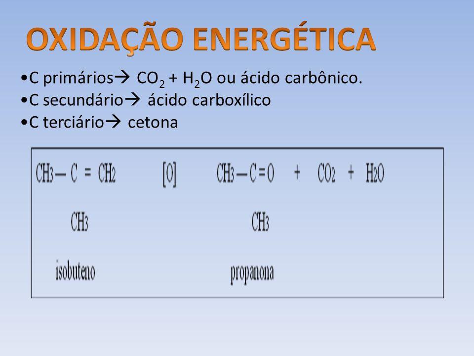 OXIDAÇÃO ENERGÉTICA C primários CO2 + H2O ou ácido carbônico.
