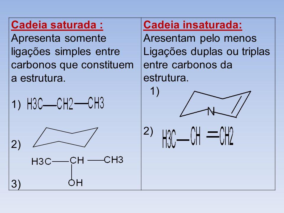 Cadeia saturada : Apresenta somente ligações simples entre carbonos que constituem a estrutura.