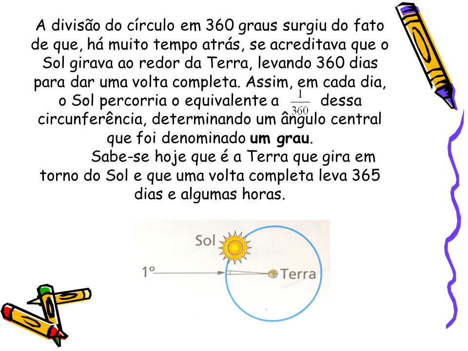 A divisão do círculo em 360 graus surgiu do fato de que, há muito tempo atrás, se acreditava que o Sol girava ao redor da Terra, levando 360 dias para dar uma volta completa. Assim, em cada dia, o Sol percorria o equivalente a dessa circunferência, determinando um ângulo central que foi denominado um grau.